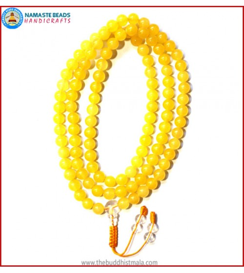 Yellow Jade Stone Mala with Crystal Guru Bead