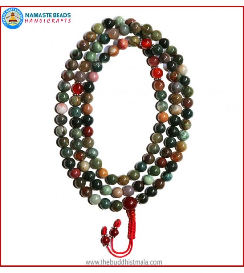 Mix Jasper Mala with Carnelian Guru Bead