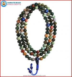 Mix Jasper Mala with Lapis Lazuli Guru Bead