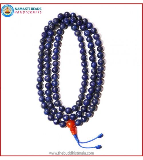 Lapis Lazuli Stone Mala with Carnelain Guru Bead
