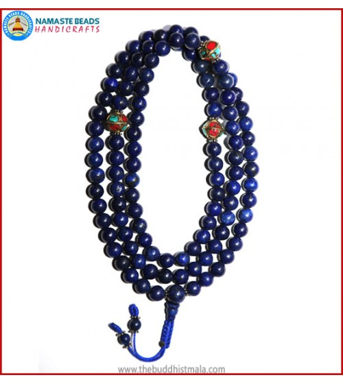 Afghani Lapis Lazuli Stone Mala with Metal Inlays Spacer Beads