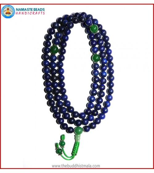 Afghani Lapis Lazuli Stone Mala with Green Jade Guru Bead