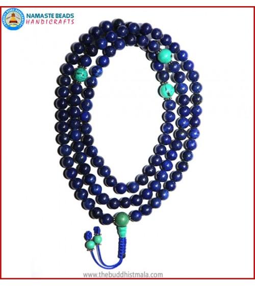 Afghani Lapis Lazuli Stone Mala with Turquoise Guru Bead