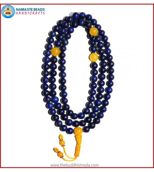 Afghani Lapis Lazuli Stone Mala with Yellow Jade Guru Bead