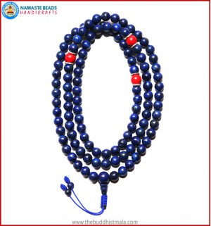 Lapis Lazuli Stone Mala with Coral Spacer Beads