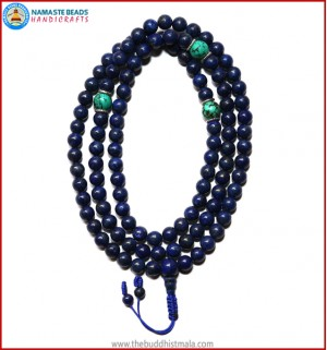 Afghani Lapis Lazuli Stone Mala with Turquoise Spacer Beads