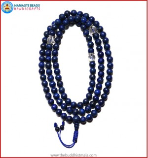 Afghani Lapis Lazuli Stone Mala with Crystal Spacer Beads