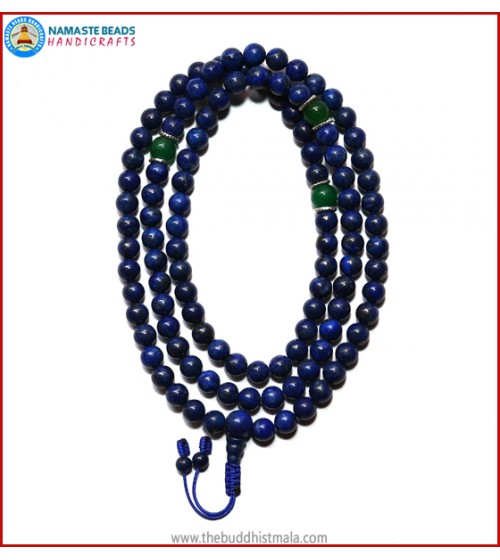 Afghani Lapis Lazuli Stone Mala with Green Jade Spacer Beads