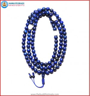 Afghani Lapis Lazuli Stone Mala with White Conch Shell Spacer Beads