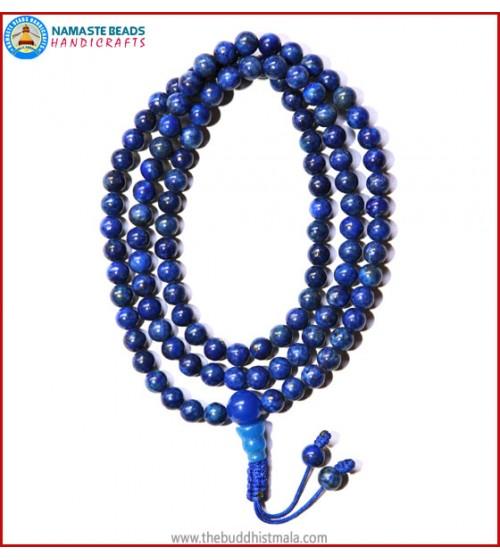 Afghani Lapis Lazuli Stone Mala with Blue Onyx Guru Bead