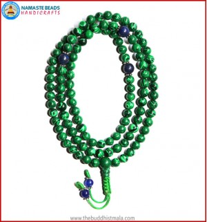 Malachite Stone Mala with Lapis Lazuli Spacer Beads