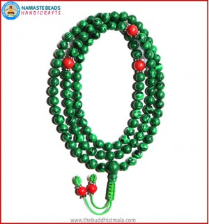 Malachite Stone Mala with Coral Spacer Beads