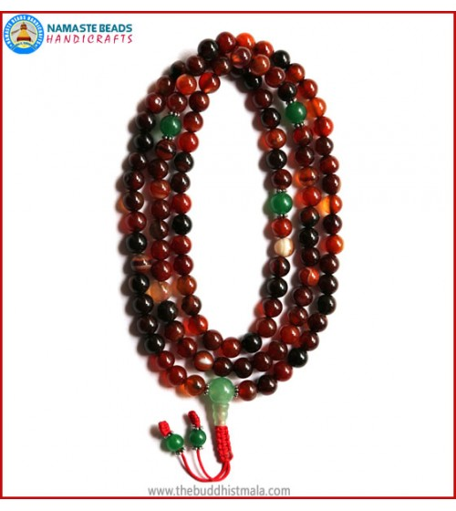 Mix Agate Stone Mala with Green Jade Guru Bead