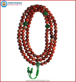 Red Jasper Stone Mala with Green Jade Guru Bead