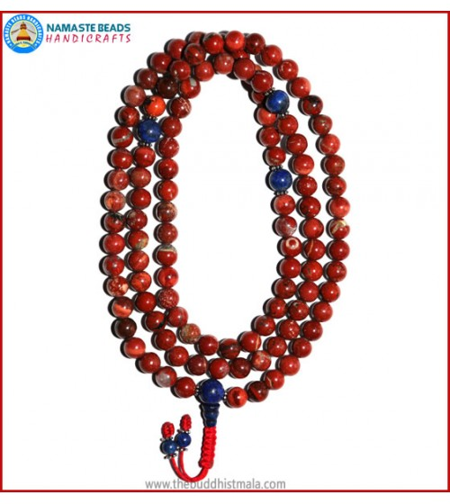 Red Jasper Stone Mala with Lapis Lazuli Guru Bead