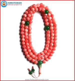 Rose Quartz Mala with Green Jade Guru Bead