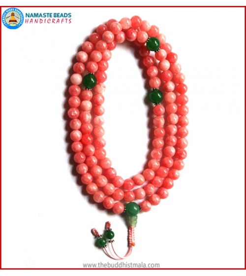 Rose Quartz Mala with Green Jade Guru Bead