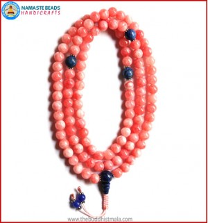 Rose Quartz Mala with Lapis Lazuli Guru Bead