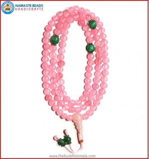 Rose Quartz Mala with Green Jade Spacer Beads
