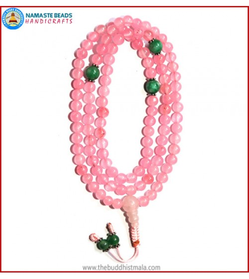 Rose Quartz Mala with Green Jade Spacer Beads