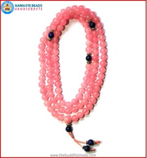 Rose Quartz Mala with Lapis Lazuli Spacer Beads
