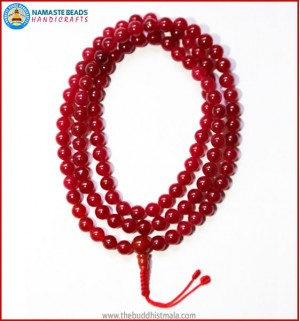 Ruby Stone Mala with Carnelian Guru Bead