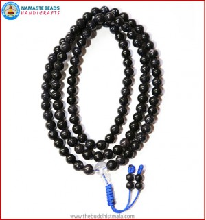 Blue Sun Stone Mala with Crystal Guru Bead