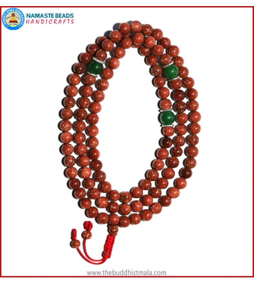 Sun Stone Mala with Green Jade Spacer Beads