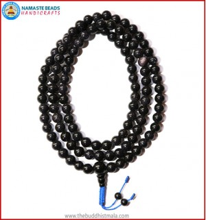 Blue Sun Stone Mala with Black Onyx Guru Bead