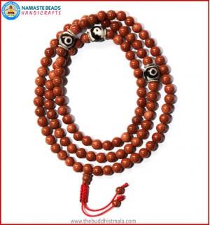 Sun Stone Mala with Round Dzi Beads