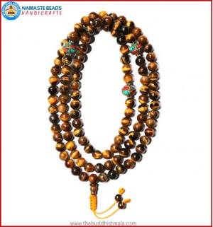 Tiger-Eye Stone Mala with Metal Inlays Beads