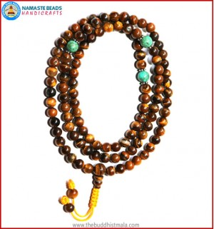 Tiger-Eye Stone Mala with Turquoise Spacer Beads
