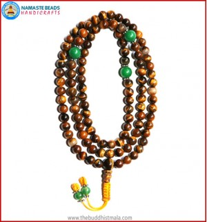 Tiger-Eye Stone Mala with Green Jade Spacer Beads