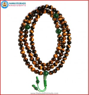 Best Quality Tiger-Eye Mala with Green Jade Guru Bead