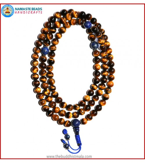 Best Quality Tiger-Eye Stone Mala with Lapis Lazuli Guru Bead