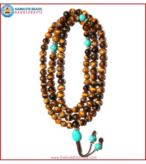 Tiger-Eye Stone Mala with Turquoise Beads