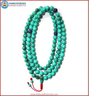 Turquoise Stone Mala with Lapis Lazuli Spacer Beads