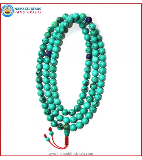 Turquoise Stone Mala with Lapis Lazuli Spacer Beads