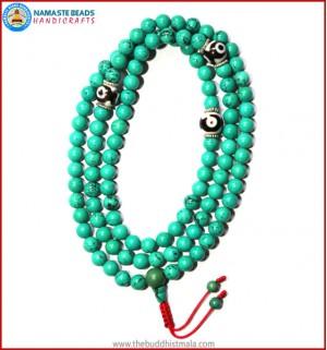 Turquoise Stone Mala with Dzi Beads