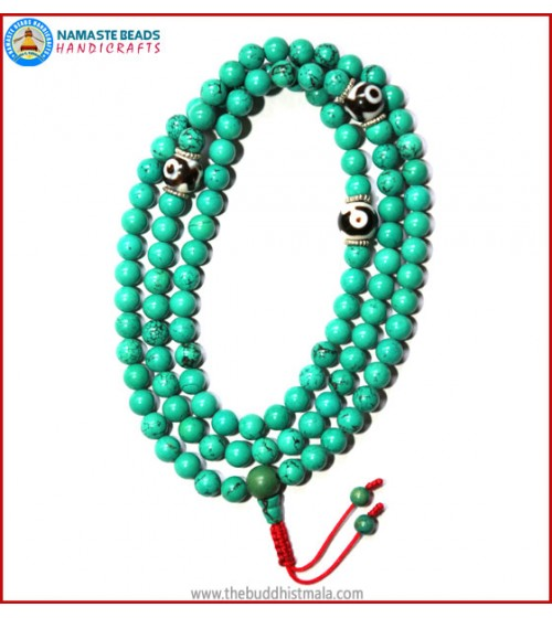 Turquoise Stone Mala with Dzi Beads