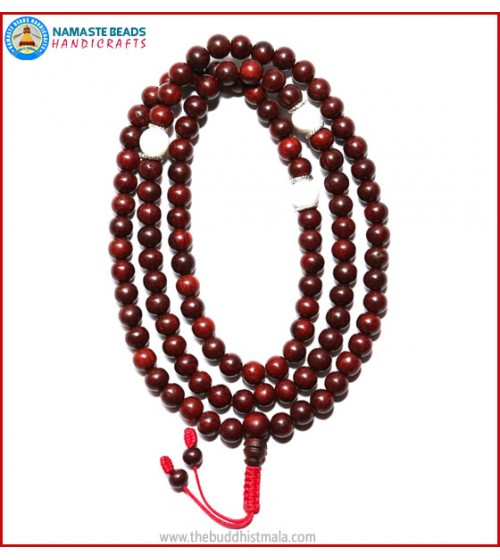 Red Sandal Wood Mala with Conch Shell Beads
