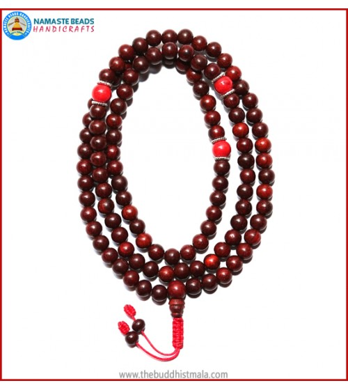 Red Sandal Wood Mala with Coral Beads