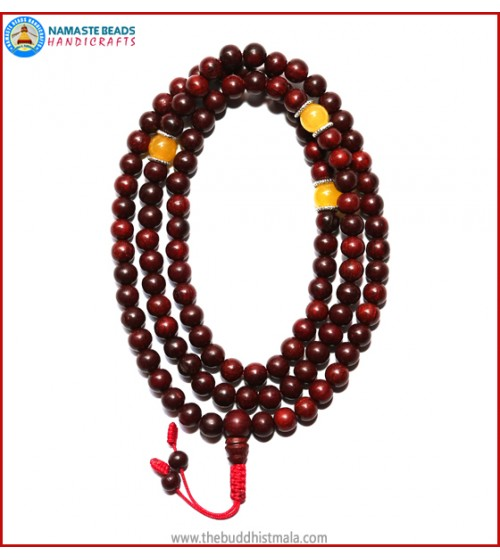 Red Sandal Wood Mala with Yellow Jade Beads