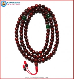 Red Sandal Wood Mala with Green Jade Beads