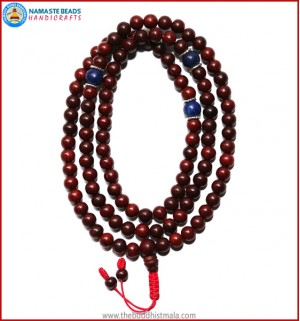 Red Sandal Wood Mala with Lapis Lazuli Beads