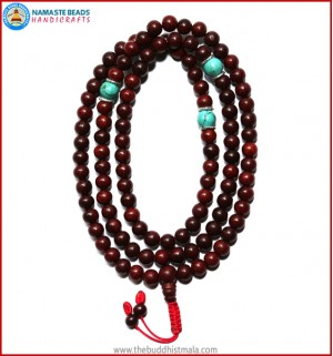 Red Sandal Wood Mala with Turquoise Beads