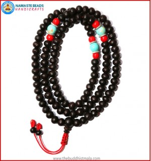 Rose Wood Mala with Coral & Turquoise Beads