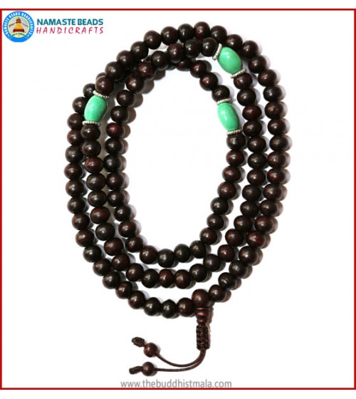 Rose Wood Mala with Flat Turquoise Spacer Beads