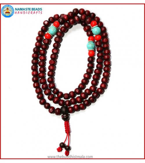 Red Wood Mala with Coral & Turquoise Beads