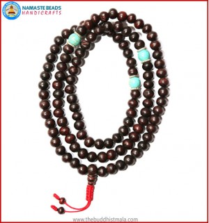 Dark Wood Mala with Turquoise Beads